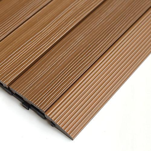 1/6 ft. x 1 ft. Quick Deck Composite Deck Tile Straight Trim in Peruvian Teak (4-Pieces/Box)