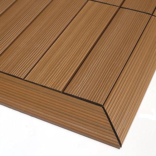 1/6pi x 1pi Carreau de terrasse en composite Quick Deck Moulure D'angle Extérieure en Teck Péruvien (2pcs/boîte)