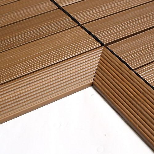 1/6 ft. x 1 ft. Quick Deck Composite Deck Tile Inside Corner Trim in Peruvian Teak (2-Pieces/Box)