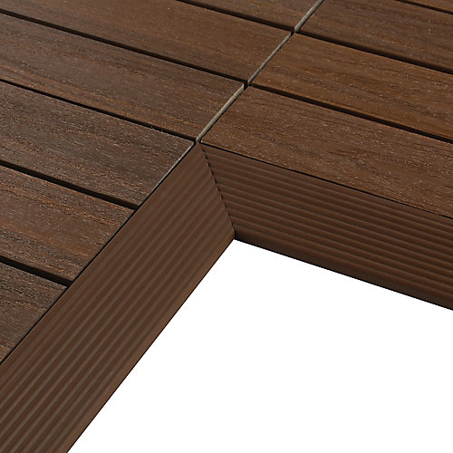 1/6 ft. x 1 ft. Quick Deck Composite Deck Tile Inside Corner Trim in Brazilian Ipe (2-Pieces/Box)