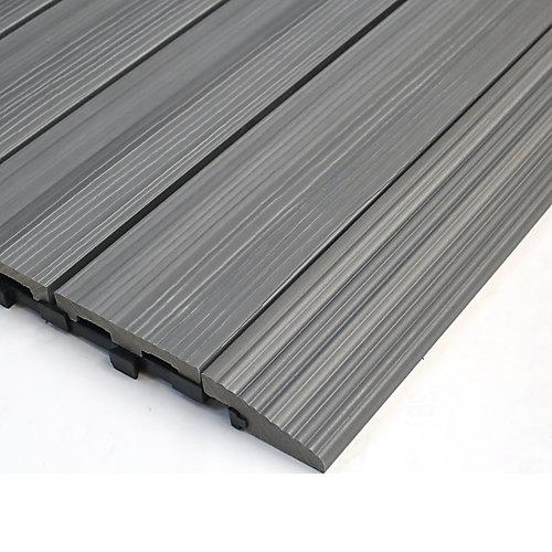 1/6pi x 1pi Carreau de terrasse en composite Quick Deck Moulure Droite en Gris Westminster (4pcs/boîte)