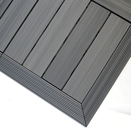 1/6 ft. x 1 ft. Quick Deck Composite Deck Tile Outside Corner Trim Westminster Gray (2-Pieces/Box)