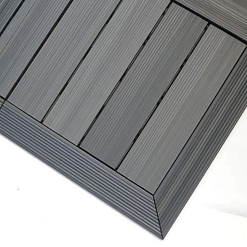1/6 ft. x 1 ft. Quick Deck Composite Deck Tile Outside Corner Trim Westminster Gray (2-Pieces/Box)
