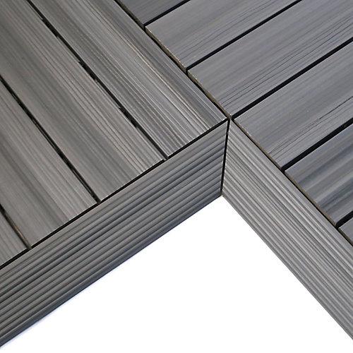 1/6pi x 1pi Carreau de terrasse en composite Quick Deck Moulure D'angle Intérieure en Gris Westminster (2pcs/boîte)