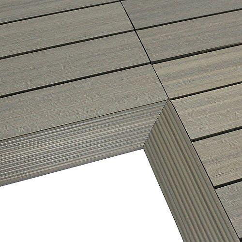 1/6 ft. x 1 ft. Quick Deck Composite Deck Tile Inside Corner Trim in Roman Antique (2-Pieces/Box)