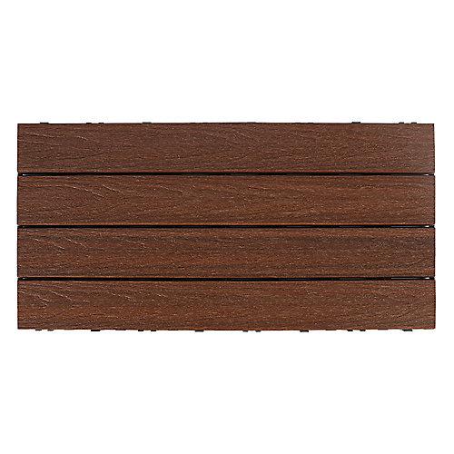 UltraShield Naturale 1 ft. x 2 ft. Quick Deck Composite Deck Tile in Brazilian Ipe (20 sq ft box)