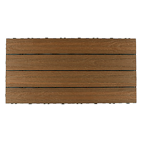 UltraShield Naturale 1 ft. x 2 ft. Quick Deck Composite Deck Tile in Peruvian Teak (20 sq ft box)