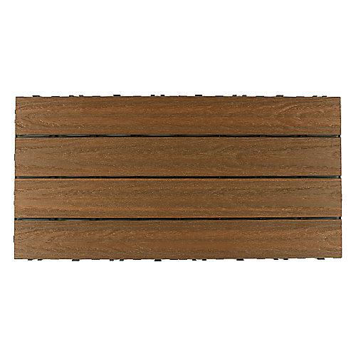 Carreau de terrasse Quick Deck en composite pour l'extérieur UltraShield Naturale 1pi x 2pi en Teck Péruvien (20 pi2/boîte)