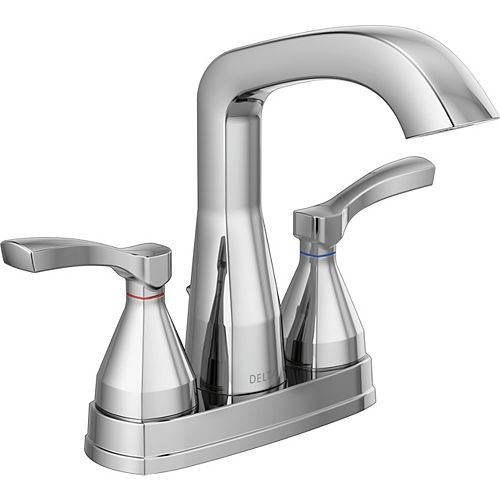 Delta Stryke 4 in. Centerset Two-Handle Bathroom Faucet With Pop-Up Drain in Chrome