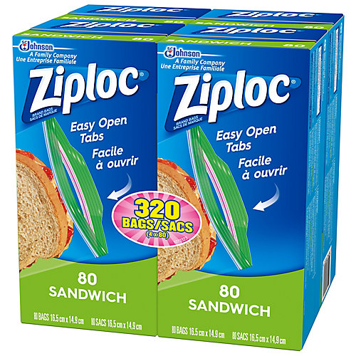 Ziploc brand bags Sandwich 4x80ct Grocery Pack