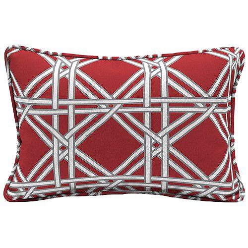 Coussin lombaire décoratif pour l'extérieur à motif d'osier tressé, rouge chili