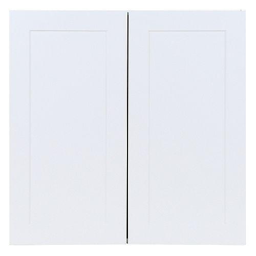 Edson 30 pouces W x 30 pouces H x 12,5 pouces D Shaker Style Assemblé Armoire murale de cuisine / Armoire en blanc massif avec tablettes réglables (W3030)