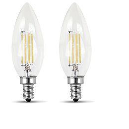 100W Soft White (2700K) B10 Candelabra Filament LED Clear Glass Light Bulb (2-Pack)