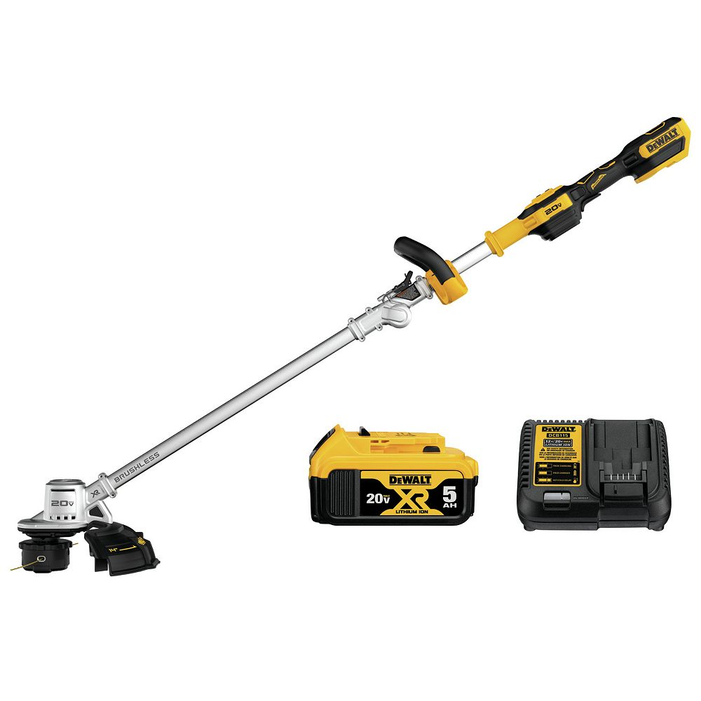 DEWALT 20V MAX Lithium-Ion Brushless Cordless String Trimmer with (1) 5.0Ah Battery and Charger Included