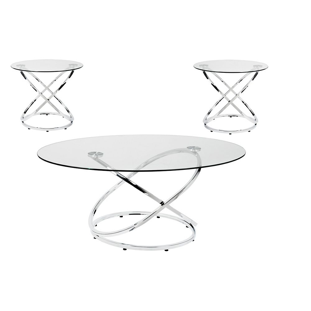 Brassex Inc Mia 3 Piece Coffee Table Set Silver The Home Depot Canada