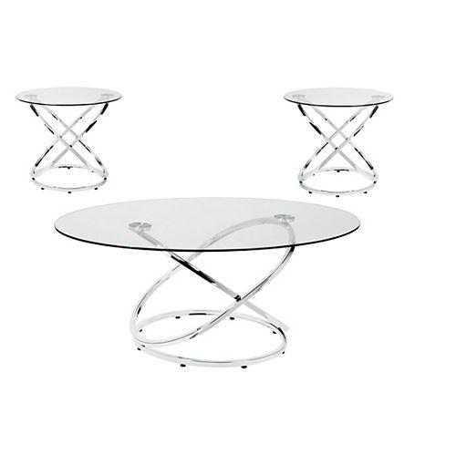 Mia 3-Piece Coffee Table Set, Silver