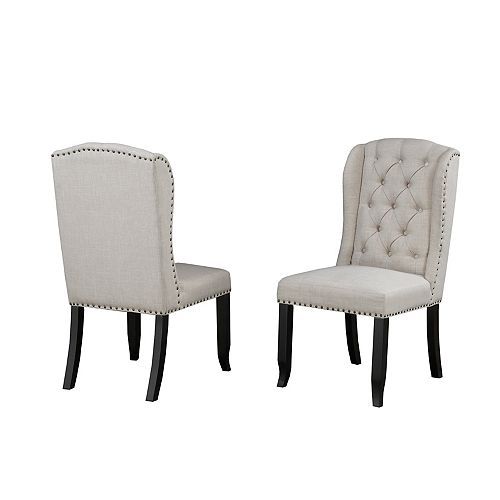 Memphis Tufted Dining Chair with Nail-Head Trim, Set of 2, Beige