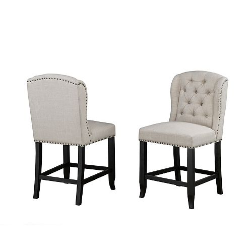 Memphis Tufted 24' Counter Stool with Nail-Head Trim, Set of 2, Beige