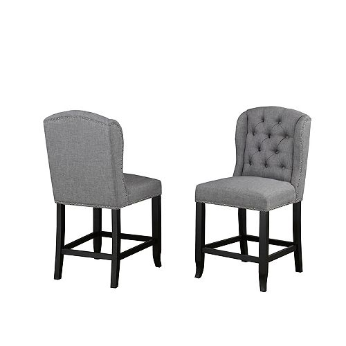 Memphis Tufted 24' Counter Stool with Nail-Head Trim, Set of 2, Grey