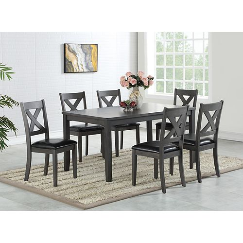 Brassex Inc. Gabriel 7-Piece Dining Set, Grey