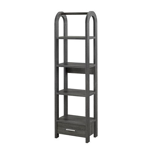 Brassex Inc. 4-Tier Display Shelf with Storage, Grey