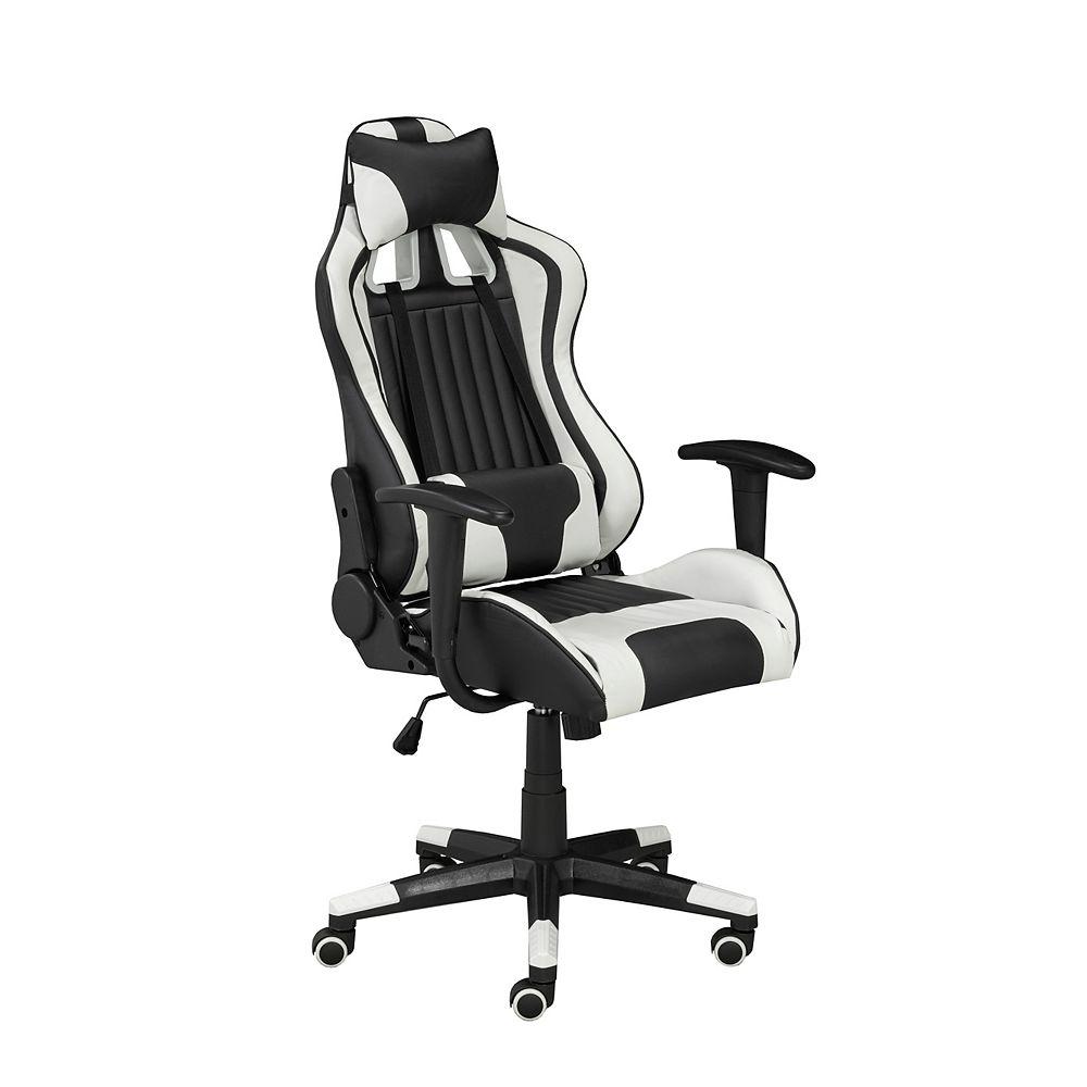 Brassex Inc. Avion Gaming Chair with Tilt & Recline, Black/White