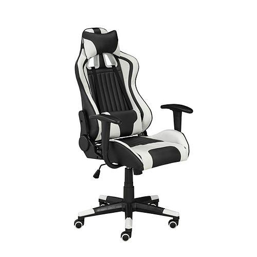 Chaise de jeu Avion avec inclinaison et déclinaison, noir / blanc