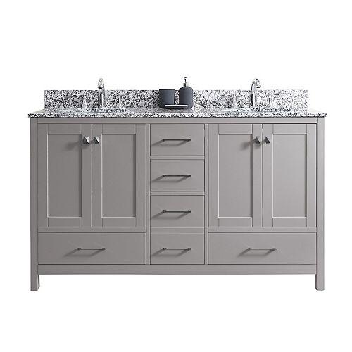 Virtu USA Caroline Madison 60-inch Double Vanity in Cashmere Grey with Granite Top, Round Sink, No Mirror