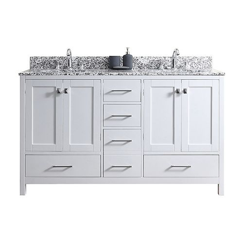 Caroline Madison 60-inch Double Vanity in White with Granite Top, Round Sink, No Mirror