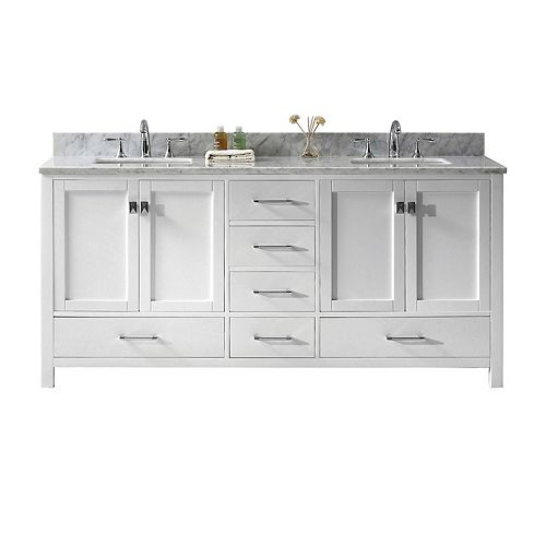 Caroline Avenue 72-inch Double Vanity in White with Marble Top, Square Sink, No Mirror
