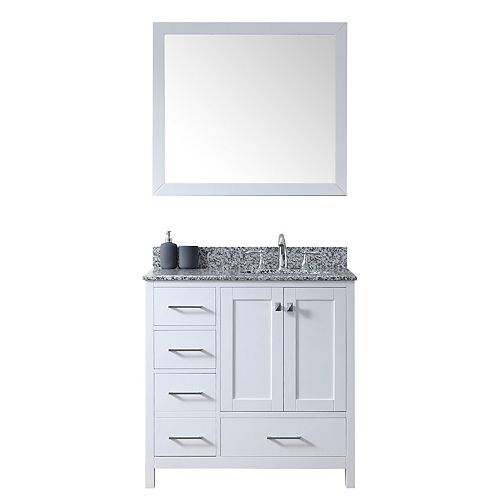 Caroline Madison (L) 36-inch Single Vanity in White with Granite Top, Round Sink, Mirror