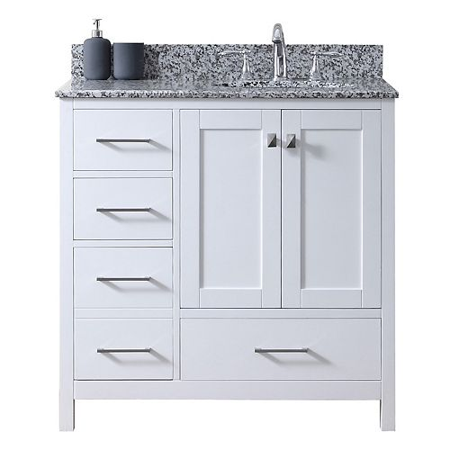 Caroline Madison (L) 36-inch Single Vanity in White with Granite Top, Round Sink, No Mirror