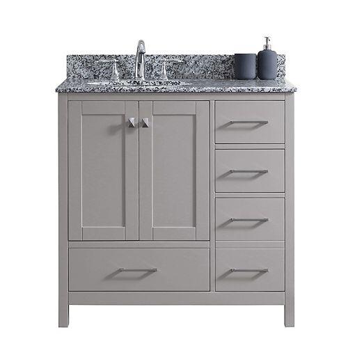 Virtu USA Caroline Madison (R) 36-inch Single Vanity in Cashmere Grey with Granite Top, Round Sink, No Mirror