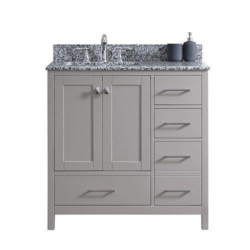 Virtu USA Caroline Madison (R) 36-inch Single Vanity in Cashmere Grey with Granite Top, Square Sink, No Mirror