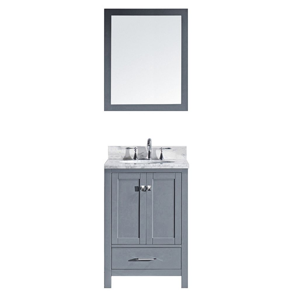 Virtu USA Caroline Avenue 24-inch Single Vanity in Grey ...