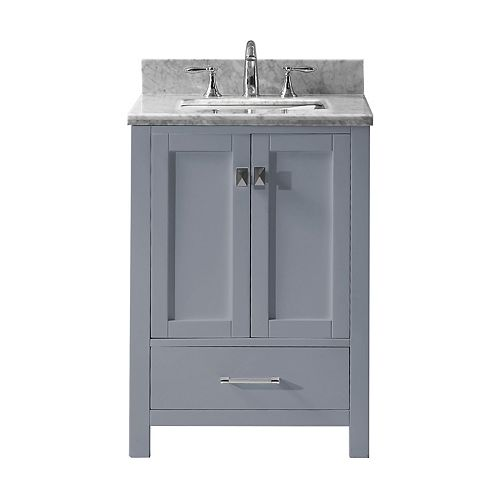 Caroline Avenue 24-inch Single Vanity in Grey with Marble Top, Square Sink, No Mirror