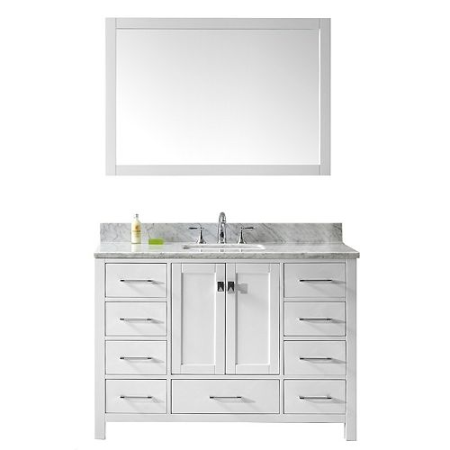 Virtu USA Caroline Avenue 48-inch Single Vanity in White with Marble Top, Square Sink, Mirror