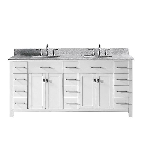 Caroline Parkway 72-inch Double Vanity in White with Marble Top, Round Sink, No Mirror