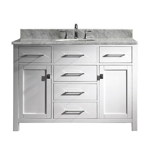 Virtu USA Caroline 48-inch Single Vanity in White with Marble Top, Round Sink, No Mirror