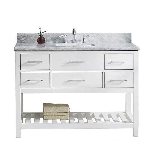 Caroline Estate 48-inch Single Vanity in White with Marble Top, Square Sink, Nickel Faucet, No Mirror