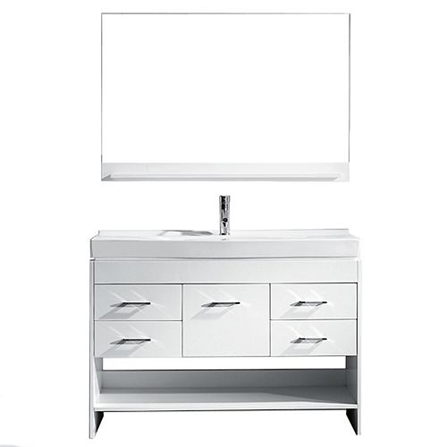 Gloria 48-inch Single Vanity in White with Ceramic Top, Square Sink with Chrome Faucet, Mirror