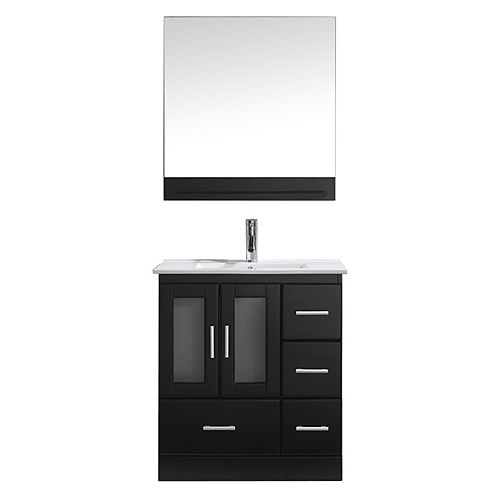 Zola 30-inch Single Vanity in Espresso with Ceramic Top, Square Sink with Chrome Faucet, Mirror