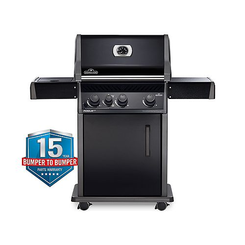 Rogue XT-425 3-Burner Natural Gas BBQ in Black with Infrared Side Burner