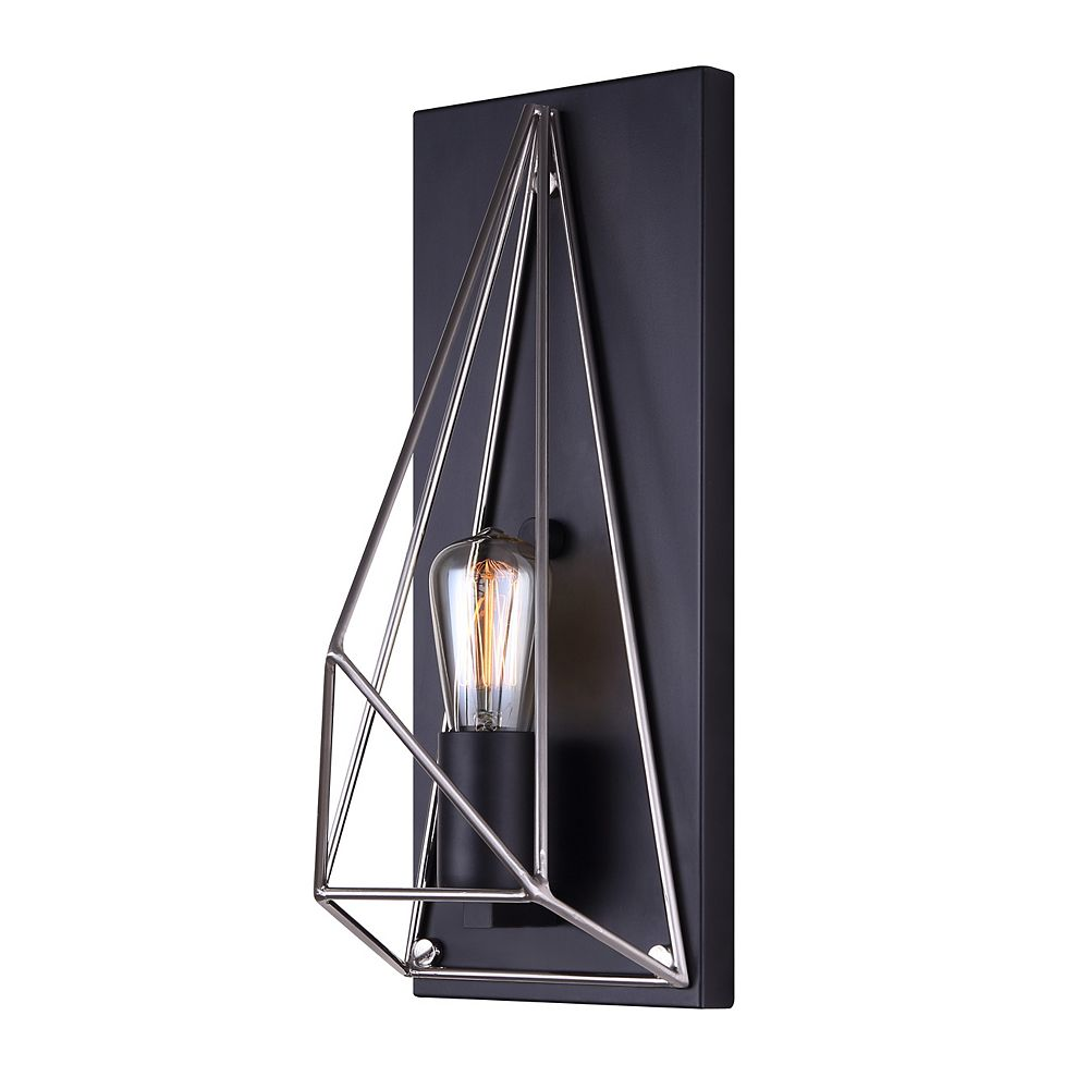 Canarm Greer 1 Light Matte Black And Brushed Nickel Wall Sconce The Home Depot Canada