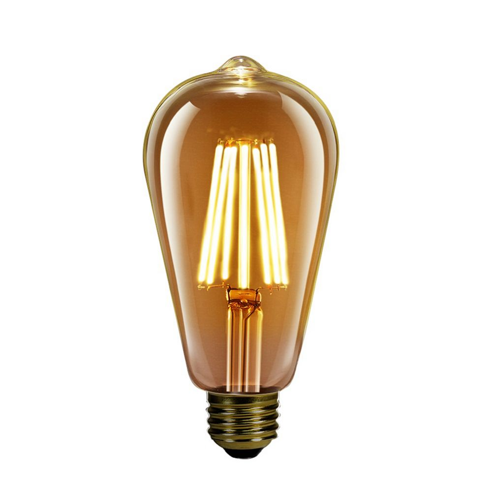 Feit Electric 60W Equivalent ST19 Dimmable Amber Glass Filament Vintage Edison LED Light Bulb Warm White 2000K