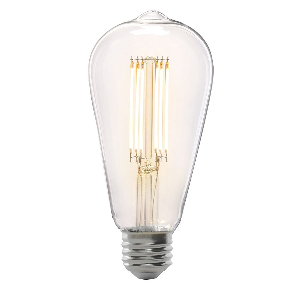 Feit Electric 75W Equivalent ST19 Dimmable Clear Glass Straight Filament Vintage LED Light Bulb Warm White 2100K