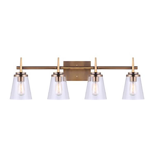 Perla 4-Light Gold Vanity with Clear Glass