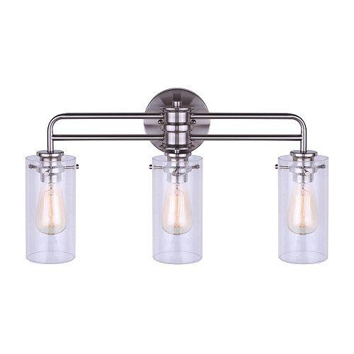 Canarm Albany vanité en nickel brossé avec globes semé à trois lumières