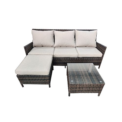 Charleston 3-Piece Wicker Patio Sectional Set with Cushions