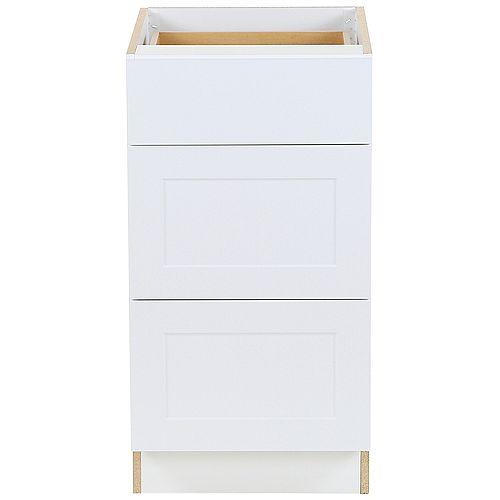 Edson 18 pouces W x 34,5 pouces H x 24,5 pouces D Shaker Style Assemblé Armoire/Armoire de base de cuisine en blanc massif avec 3 tiroirs à fermeture souple (BD183V)